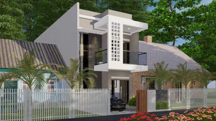Rumah Modern Minimalis Dua Lantai dengan Balkon