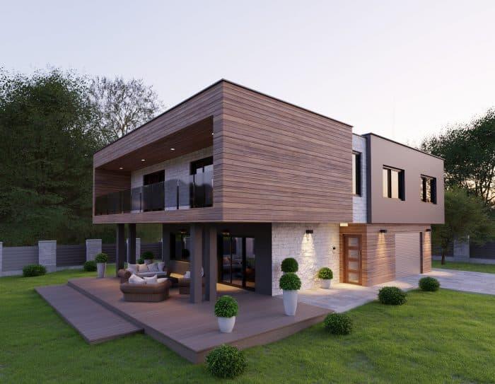 Rumah asimetris modern minimalis dengan 2 lantai