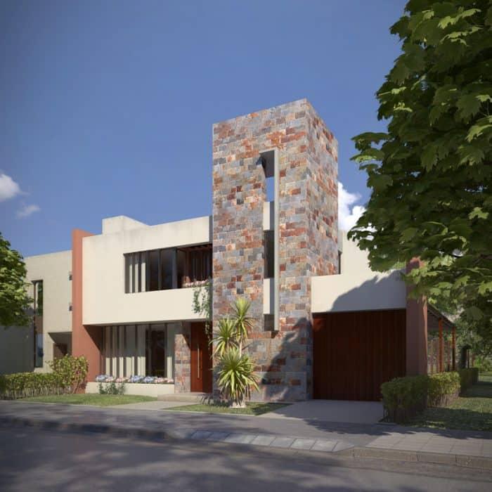 Rumah batu alam 2 lantai modern