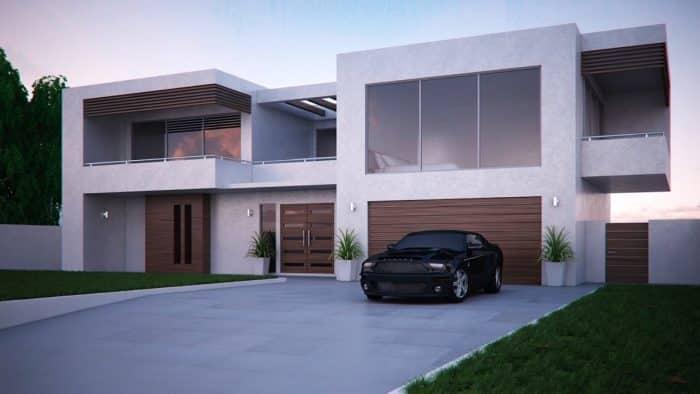 Rumah melebar dengan desain modern