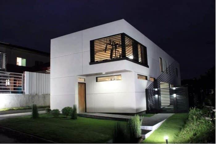 Rumah minimalis tema kayu tampak depan