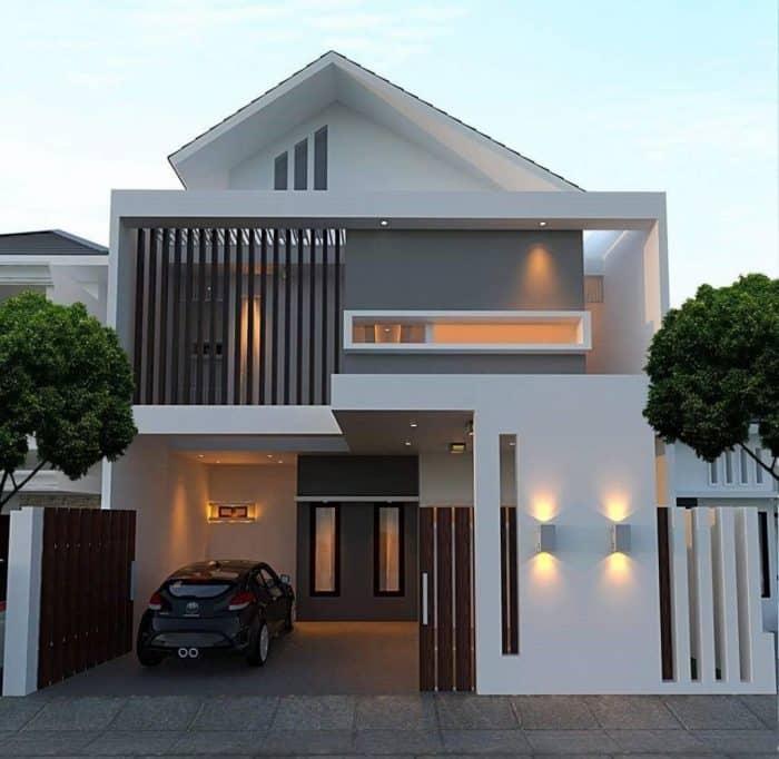 Rumah modern dengan perpaduan warna putih