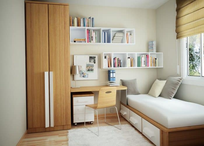 Desain Kamar Tidur Kecil Rapi dan Bersih